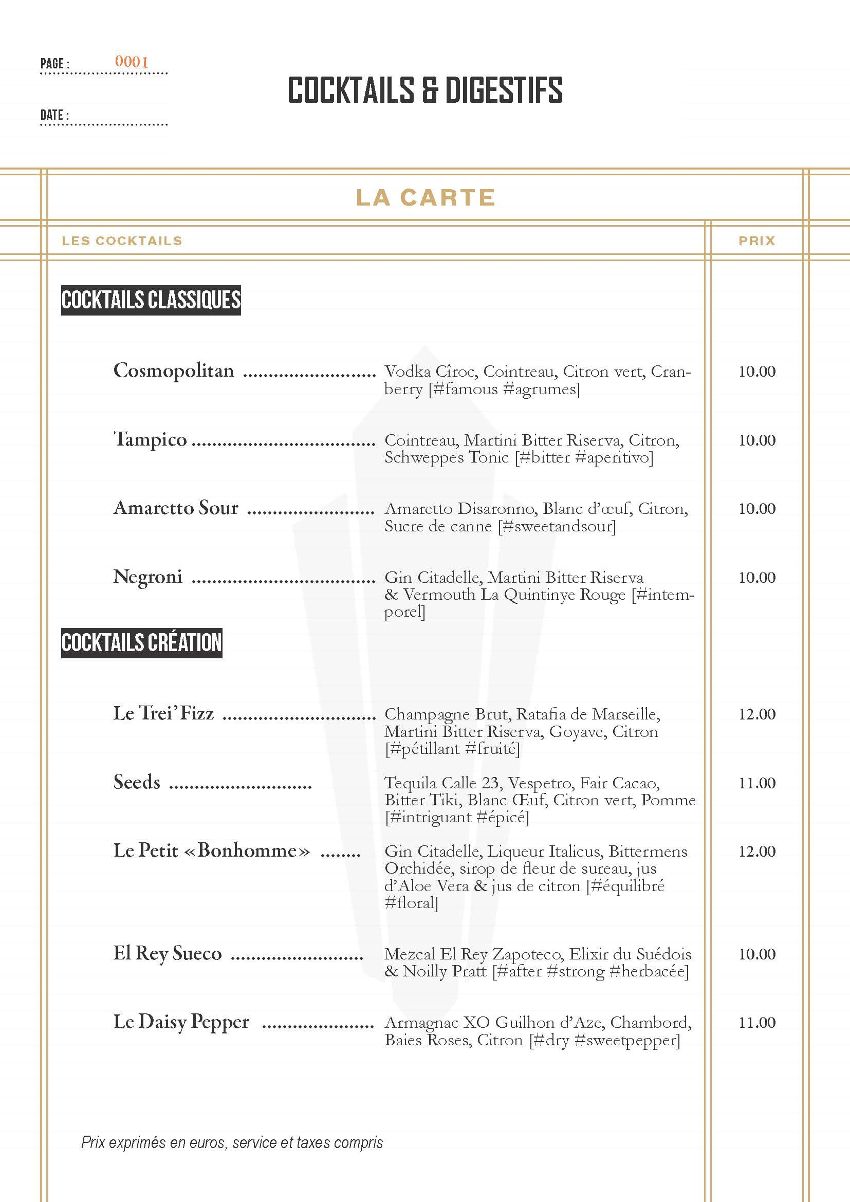 Carte cocktails - Restaurant Aux Pieds Sous La Table Toulouse